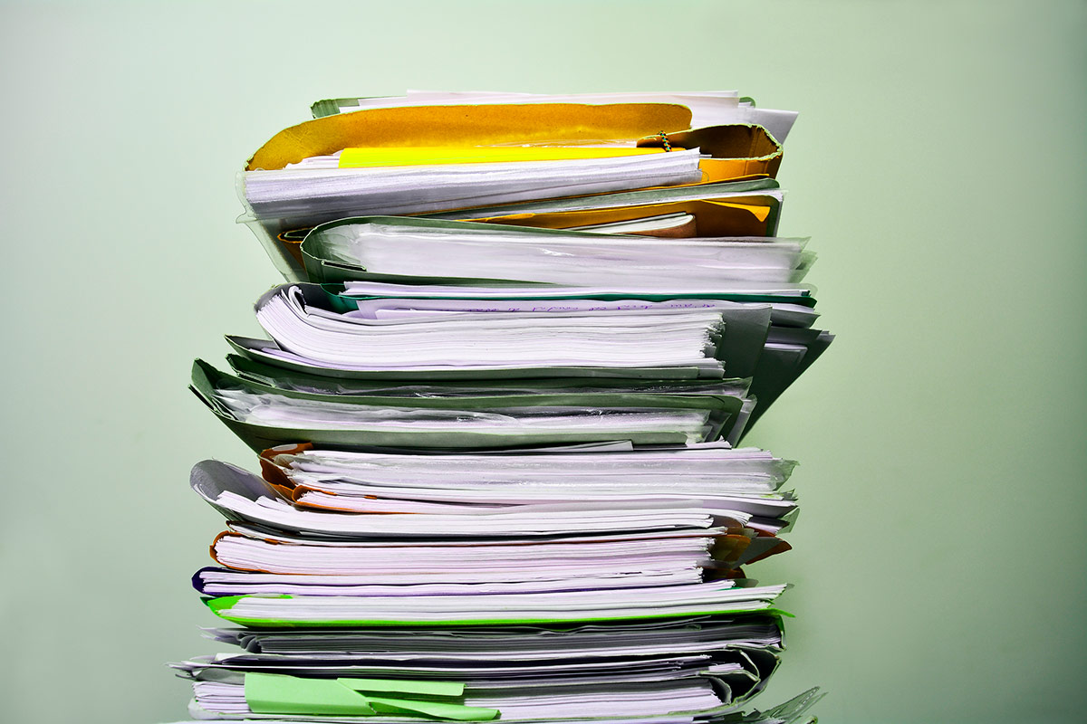 large pile of paperwork